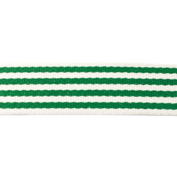 Breites Gurtband mit 4 Streifen off white / grün 40 mm