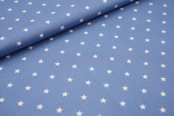 Baumwolle weiße Sterne auf taupe blau
