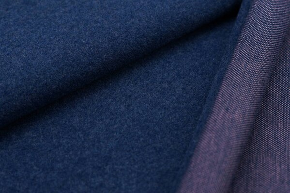 Kuschel Jacquard-Sweat Moritz navy blau Melange Uni mit altrosa Rückseite
