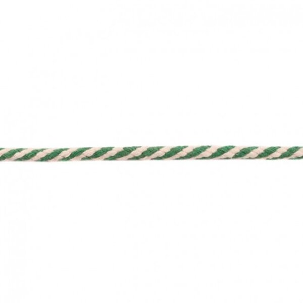Baumwoll-Kordel rund zweifarbig ecru / apfelgrün 6 mm breit