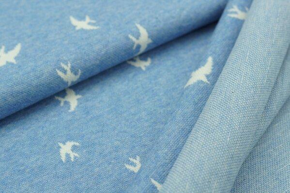 Jacquard-Sweat Mia off white Schwalben Vögel auf pastell jeansblau Melange