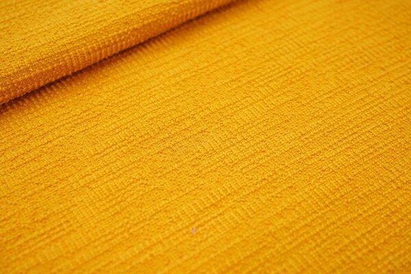 Elastischer Baumwoll Strukturstoff Bouclé-Jersey uni orangegelb