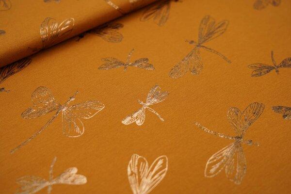 Baumwoll-Jersey Glitzer Libellen auf cognac braun