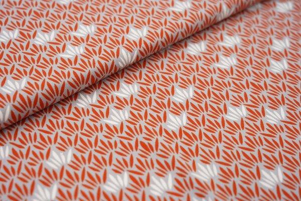 Baumwoll-Jersey Blätter Muster silbergrau / rostorange / weiß