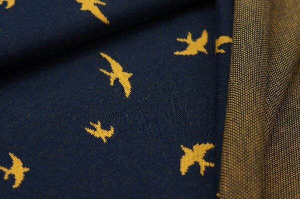 Jacquard-Sweat Ben senf Schwalben Vögel auf navy blau