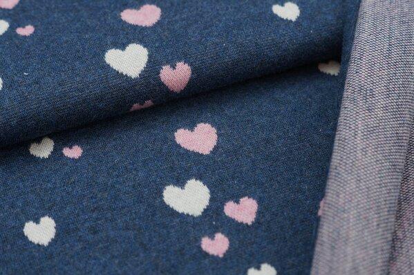 Jacquard-Sweat Mia pastell pink / off white Herzchen auf navy blau melange