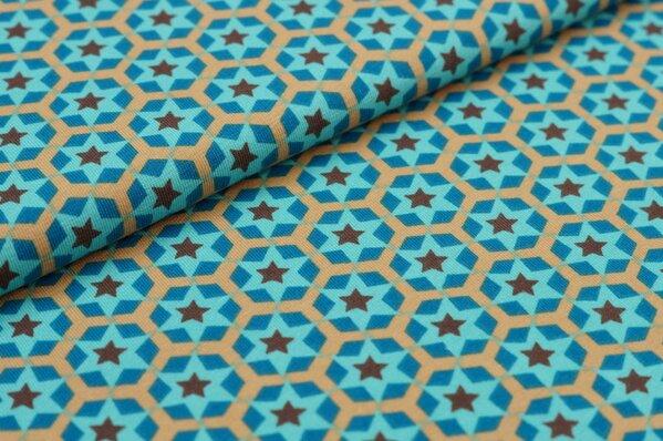 Baumwoll-Jersey Sternen-Muster petrol / beige / türkis / braun
