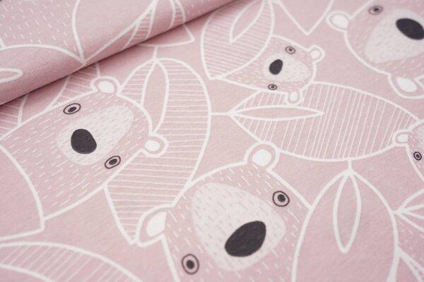 Sommer T-Shirt-Stoff / leichter Jersey große Bären und Blätter altrosa / weiß