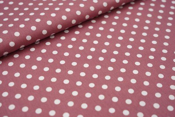 Baumwollstoff Baumwolle große Punkte dunkel altrosa / weiß