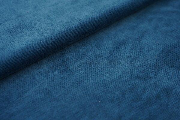 Feincord Jersey uni petrol blau