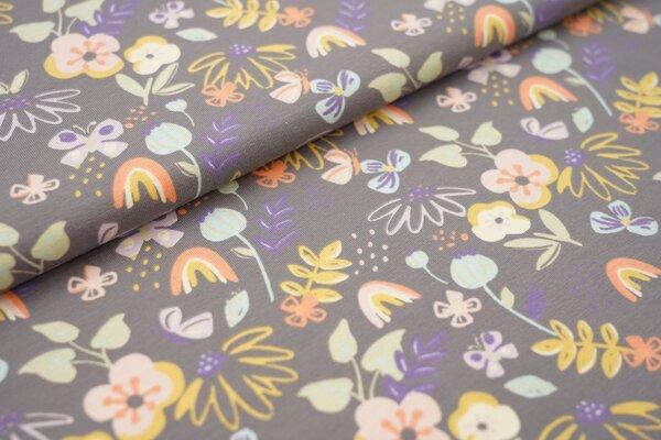 Baumwoll-Jersey mit bunten Blumen auf dunkelgrau