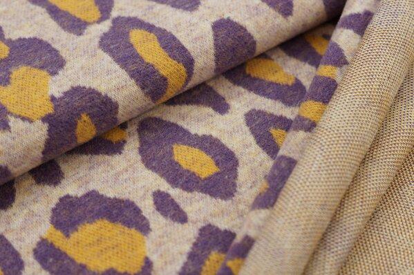 Kuschel Jacquard-Sweat Max XXL Leoparden Muster off white / lila / senf