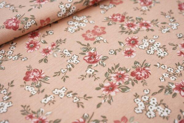 Sommer T-Shirt-Stoff / leichter Jersey Blumen in grün und rosa auf beigerot