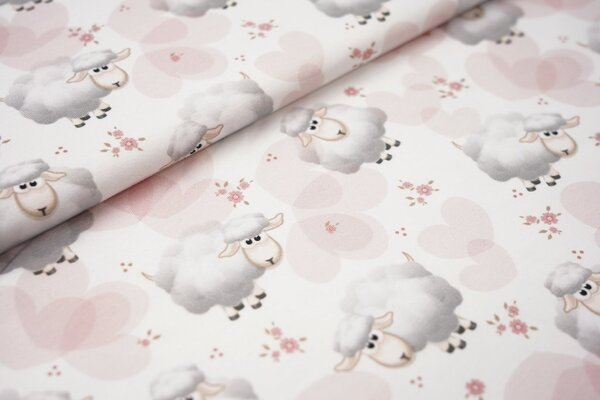 Digitaldruck Baumwoll-Jersey Schafe Herzen und kleine Blumen auf weiß