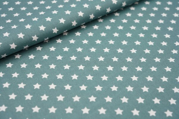 Baumwollstoff Baumwolle kleine Sterne dunkel altgrün / weiß