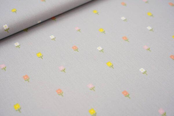Baumwolle kleine Blumen auf silbergrau
