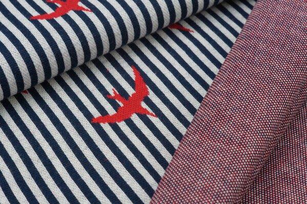 Jacquard-Sweat Schwalben Vögel (gefüllt) Streifen navy blau / off white / rot