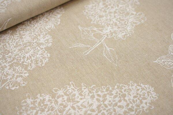 Canvas-Stoff Dekostoff in Leinenoptik Flieder Blumen Blätter natur / weiß