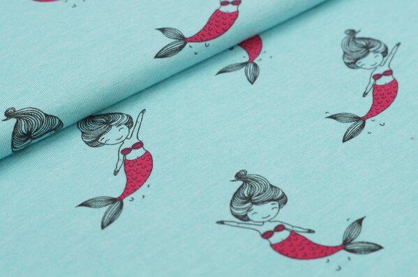 Baumwoll-Jersey Meerjungfrauen auf hell türkis melange