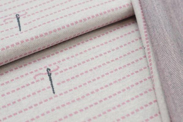 Jacquard-Sweat Ben gestrichelte Linien Nadeln off white / dunkelgrau / altrosa
