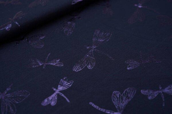 Baumwoll-Jersey Glitzer Libellen auf dunkelblau