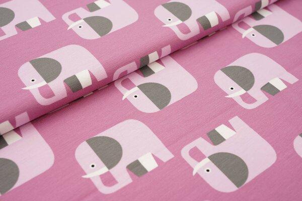 Baumwoll-Jersey Elefanten Parade hell beere / rosa / dunkelgrau