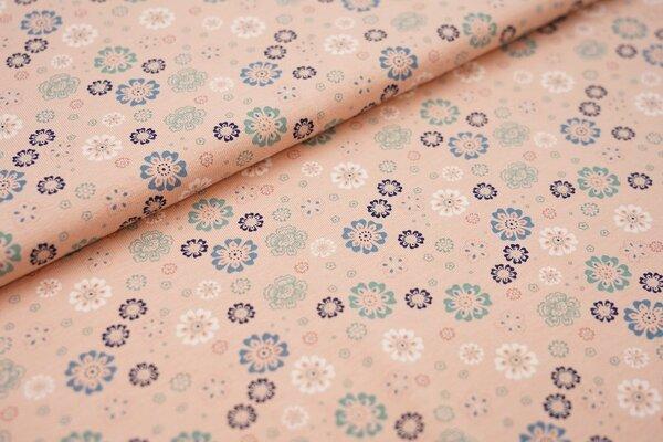 Baumwoll-Jersey Blumen Blüten lachs / blau / mint / weiß / dunkelblau