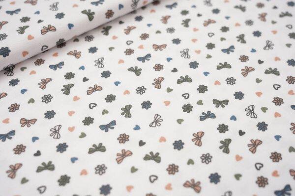 Baumwoll-Jersey Schleifen und Herzen auf weiß