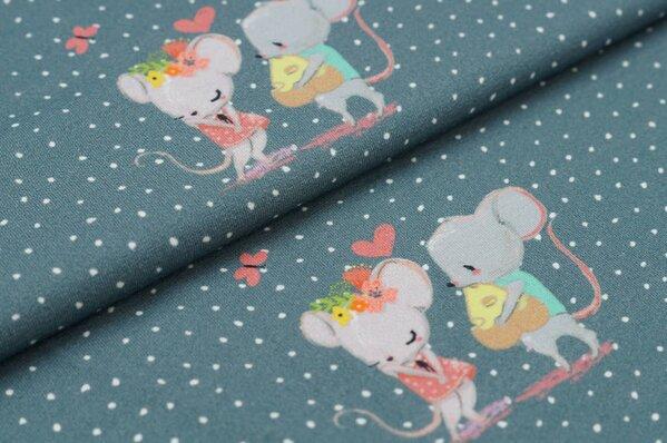 Baumwoll-Jersey Digitaldruck Lucy & Leo Mäuse Maus Punkte grau / off white
