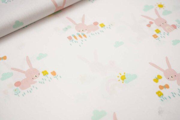 Baumwolle Häschen auf der Wiese Blumen Regenbogen Hase auf weiß