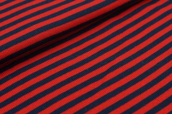 Ringelbündchen Marie navy blau / rot Streifen