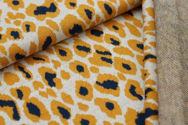 Jacquard-Sweat Ben mit Leoparden Design off white / senf / navy blau