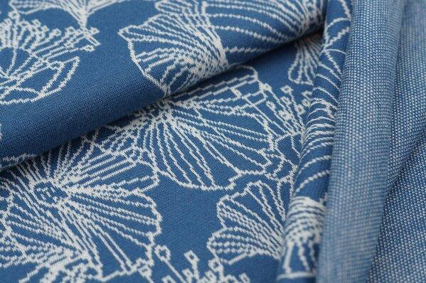Jacquard-Sweat Ben große off white Blumen auf taupe blau