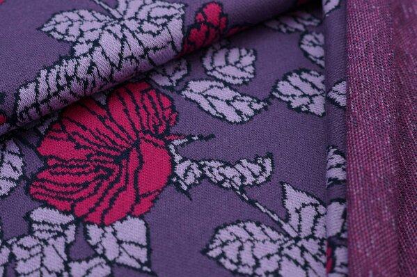 Jacquard-Sweat Ben Blumen-Muster mit Blättern lila / amarant pink / navy blau