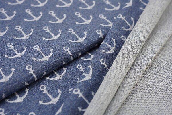 Baumwoll-Sweat weiße Anker auf jeansblau meliert maritim