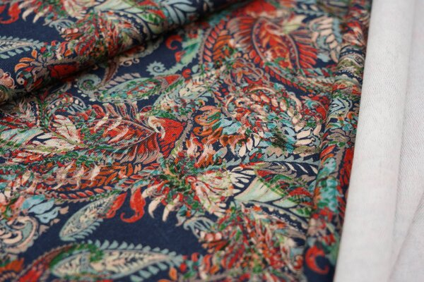 Baumwoll-Sweat Digitaldruck buntes Paisley Muster auf dunkelblau