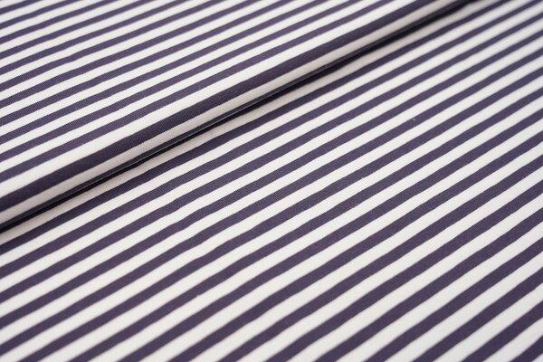 Baumwoll-Jersey Streifen Ringel weiss / dunkelgrau
