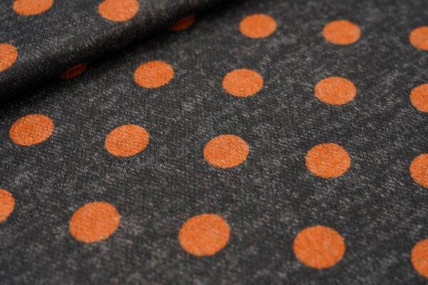 Feiner Strickstoff gebürstet rostorange Punkte auf schwarz / grau meliert