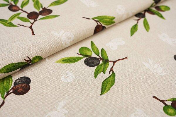 Dekostoff in Leinenoptik natur Olivenzweige grün / braun / weiß