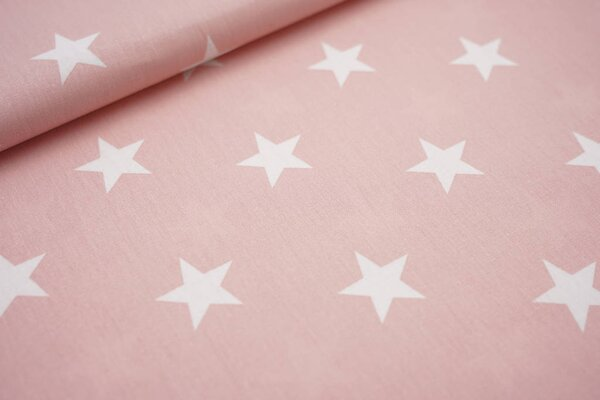 Baumwollstoff Baumwolle lachs mit sehr großen weißen Sternen