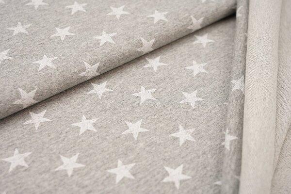 Baumwoll-Sweat weisse Sterne auf hellgrau meliert