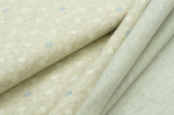 Jacquard-Sweat Mia off white und jeansblaue Punkte auf pastell beige Melange
