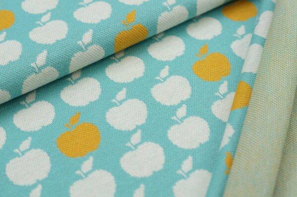 Jacquard-Sweat Ben senf und off white Äpfel Apfel auf eisblau