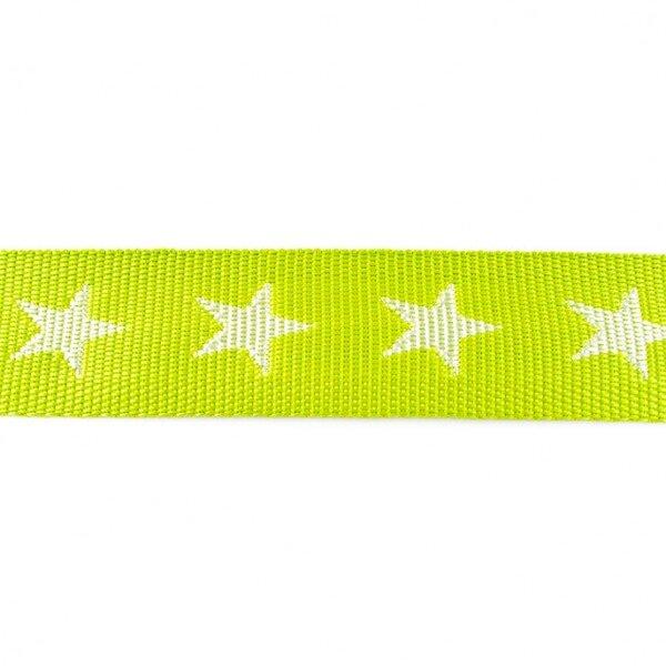 Breites Gurtband mit Sternen limettengrün / weiß 40 mm