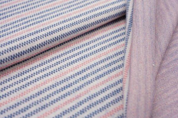 Jacquard-Jersey Linien Muster Streifen off white / taupe blau / koralle
