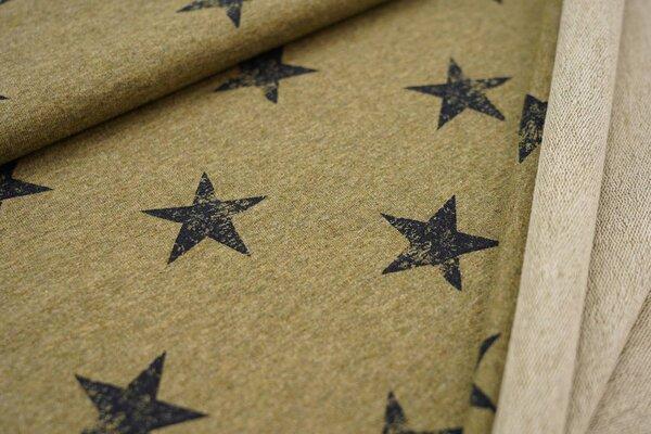 Baumwoll-Sweat dunkelblaue Sterne auf gelb meliert maritim