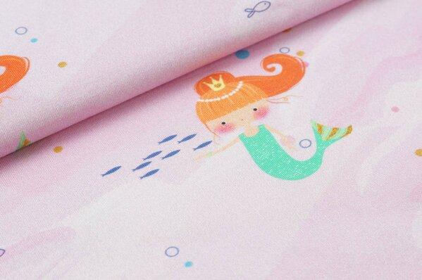 Baumwoll-Jersey Digitaldruck Meerjungfrauen Punkte Fische Quallen auf rosa