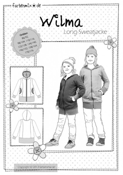 farbenmix Schnittmuster Wilma Unisex Kinder Long-Sweatjacke