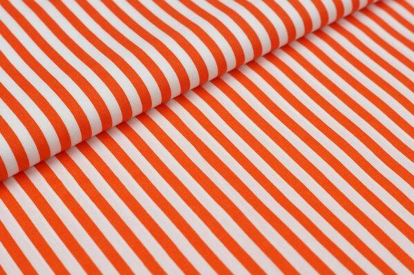 Baumwollstoff Baumwolle Streifen orange / weiß