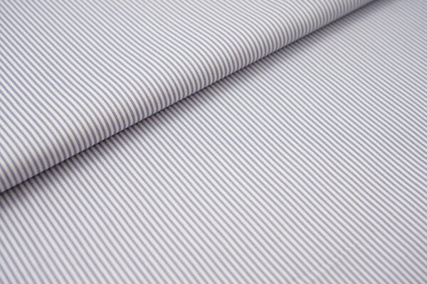 Baumwollstoff Ringel Streifen schmal grau / weiß